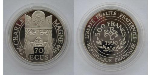 """Франция. Платина. 500 франков-70 экю 1990 года. """"Карл Великий"""". Proof. Вес 20,0 грамм. Тираж 2000 шт."""