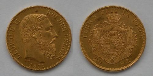 Бельгия. Леопольд II. 20 франков 1875 года. Золото. Отличное состояние.