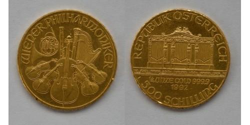 Австрия. 500 шиллингов 1992 года. Золото. 1/4 унции. Штемпельный блеск.