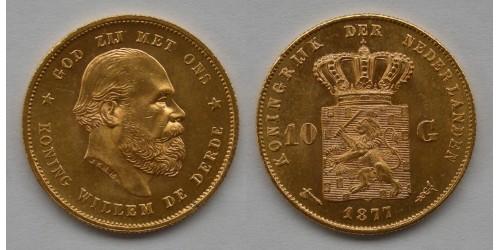 Нидерланды. Вильгельм III. 10 гульденов 1877 года. Золото. Штемпельный блеск.