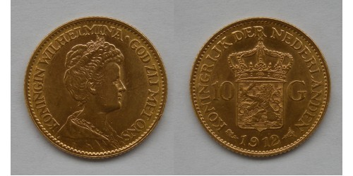 Нидерланды. Вильгельмина. 10 гульденов 1912 года. Золото. Штемпельный блеск.