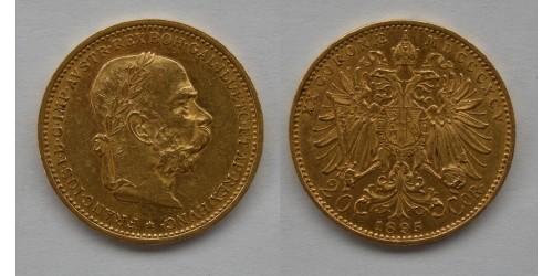 Австрия. Франц Иосиф I. 20 корон 1895 года. Золото. Не рестрайк. Штемпельный блеск.