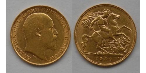 Англия. Эдуард VII. 1/2 соверена 1909 года. Золото. Фрагменты штемпельного блеска.