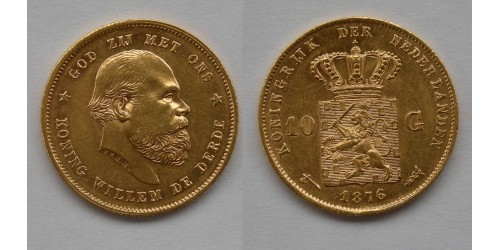Нидерланды. Вильгельм III. 10 гульденов 1876 года. Золото.  Штемпельный блеск.