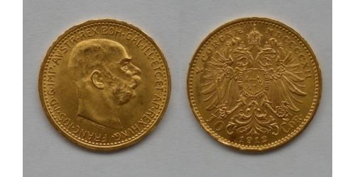 Австрия. Франц Иосиф I. 10 корон 1912 года. Золото. Не рестрайк. Штемпельный блеск.