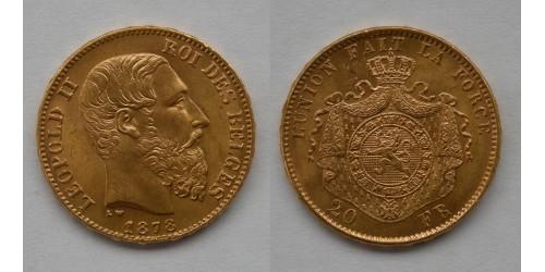 Бельгия. Леопольд II. 20 франков 1878 года. Золото. Штемпельный блеск.