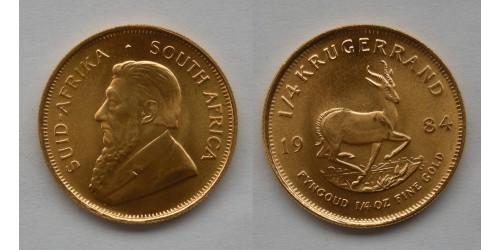 ЮАР. 1/4 крюгерранда 1984 года. Золото. 1/4 унции. Яркий штемпельный блеск.