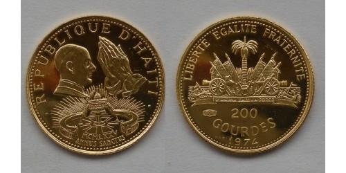 Гаити. 200 гурдов 1974 года. Золото. Proof. Тираж 660 шт.