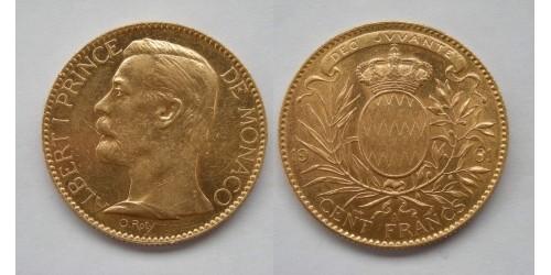 Монако. Альберт I. 100 франков 1901 года. Золото. Тираж 15000 шт. Фрагменты штемпельного блеска.