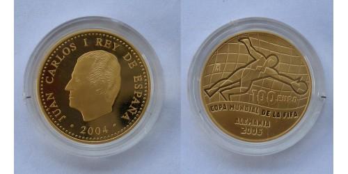 """Испания. 100 евро 2004 года. """"18-й Чемпионат Мира по футболу"""". Proof. Золото."""