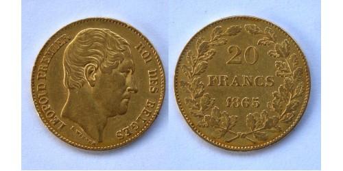 Бельгия. Леопольд I. 20 франков 1865 года. Золото. Фрагменты штемпельного блеска.