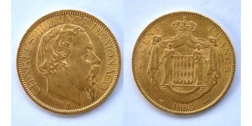 Монако. Карл III. 100 франков 1886 года. Золото. Тираж 15000 шт. Яркий штемпельный блеск.