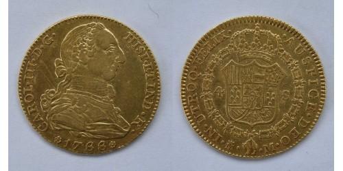 Испания. 4 эскудо 1788 года. MM(Мадрид). Карл III. Фрагменты штемпельного блеска.