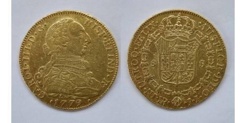 Колумбия. 8 эскудо 1779 года. NR JJ. Карл III.