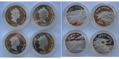 Соломоновы острова. Серебро. Подборка из четырёх монет по 25 долларов 2003 года. Proof.